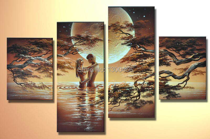 Hand Painted 4 Piece Wall Art African Nude Women Canvas -3179