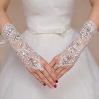 Fingerless Lace Wedding Gloves For Bride Beaded Crystal Bridal Gloves Women