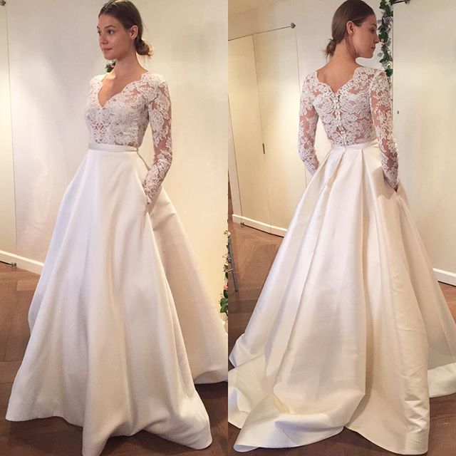 Elegant And Simple Wedding Dresses Long Sleeve Lace: 2017 Mariage Vintage Long Sleeve V Neck Floor Length Lace