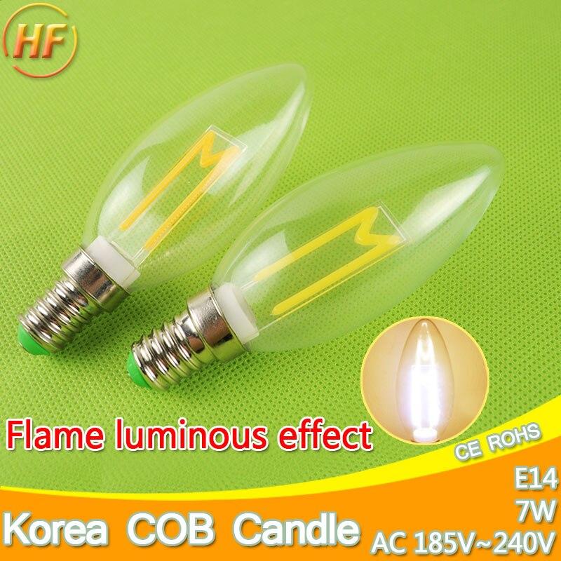 Flame view korea cob c35 candle led bulb e14 220v 7w - Ampoule led retro ...