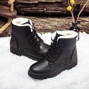 Image 5 - Womens Boots Winter Snow Boots Ladies New Warm Plus Velvet Cotton Shoes Boots Waterproo Martin Boots PU Large Size Cotton Shoes