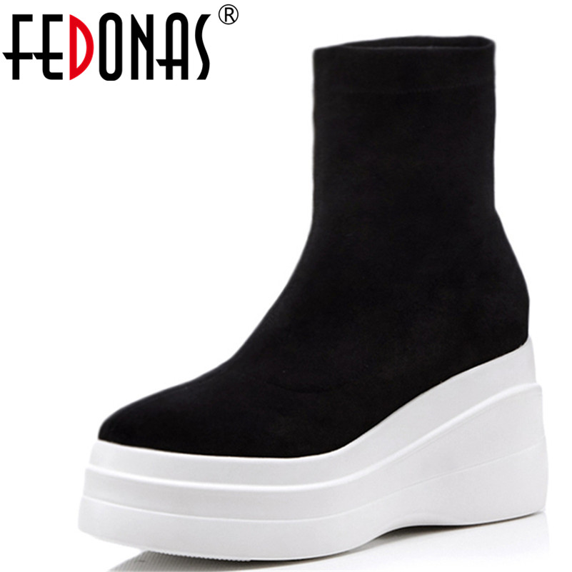 FEDONAS Brand Wedges High Heeled Women Ankle Boots Sexy Platforms Slip On Socks Boots Punk Night Club Dancing Shoes Woman buckle slip on wedges