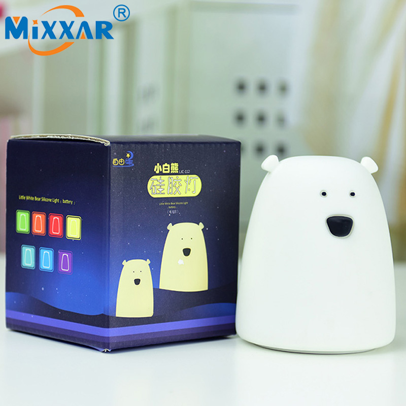 NZK22 LED Night Light Little Bear Silicone 7 Color Touch Sensor Cute Night Lamp Bedroom Light For kids use with 3xAA battery cute 3d rilakkuma bear jelly silicone cover for ipod touch 6 touch 5 red