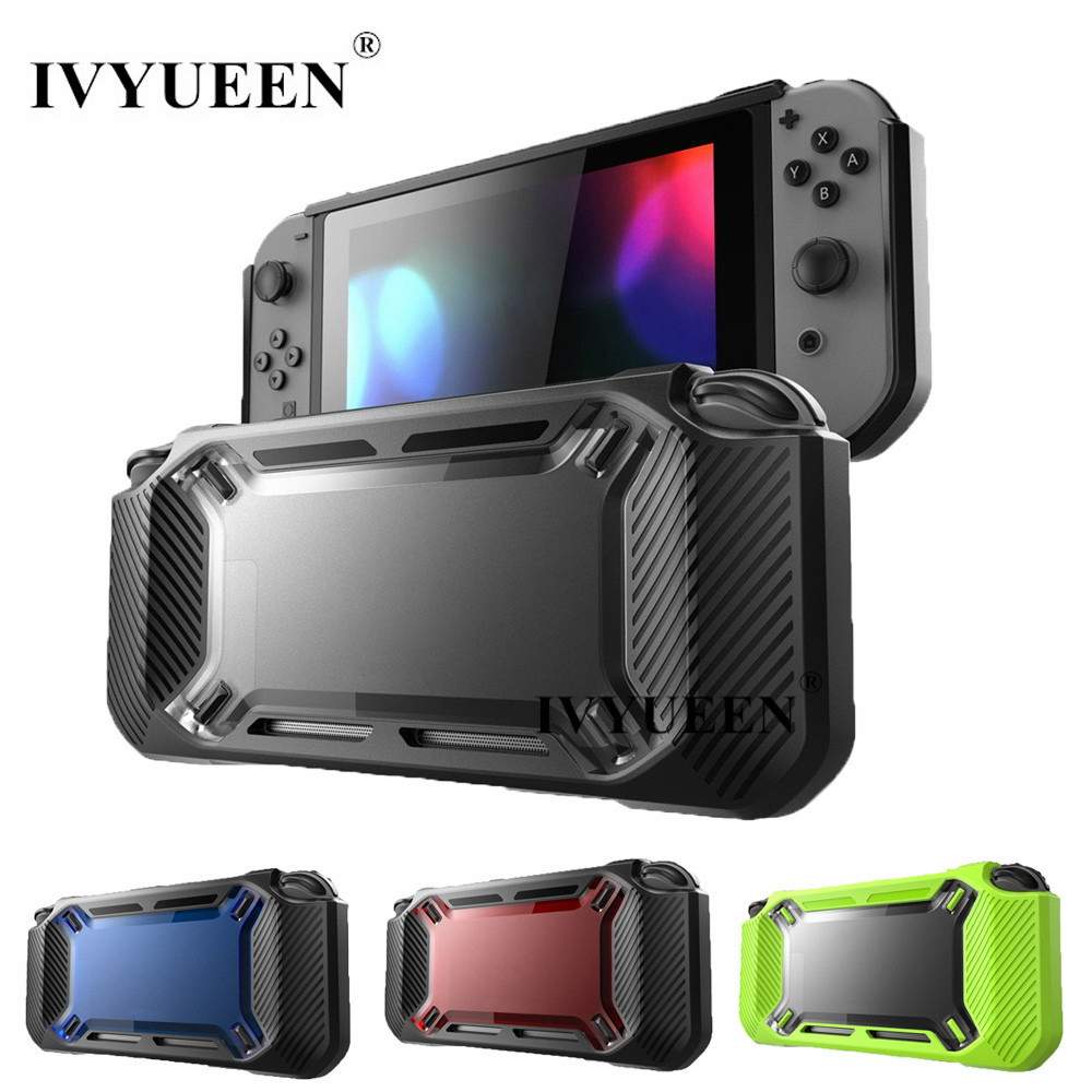 IVYUEEN for Nintend Switch NS NX Console Heavy Duty Slim Rubberized Hard Case Shell with Thumb Grip Tempered Glass Screen Film ivyueen for nintend switch ns console for joy con crystal clear hard back shell cover 9h tempered glass screen protector film