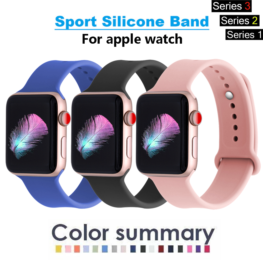 Silicone band For Apple watch series 3 2 1 correa aple watch 42mm 38mm sport rubber strap bracelet wrist belt Iwatch accessories цена