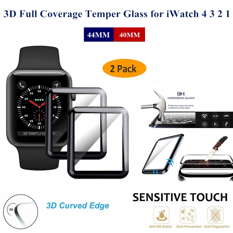 2PC A Lot 3D Full Coverage Tempered Glass For Apple Watch 44/40MM Curved Surface Film Screen Protector For iWatch Series 4 3 2 1 3d curved full coverage tempered glass film for apple watch flim screen protector 38mm 42mm 44mm 40 9h for iwatch series 4 3 2 1