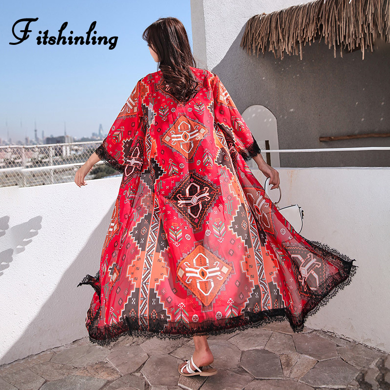Fitshinling Chinese style ethnic chiffon beach cover up 2019 summer lace splice red long cardigan swimwear vintage boho outputs
