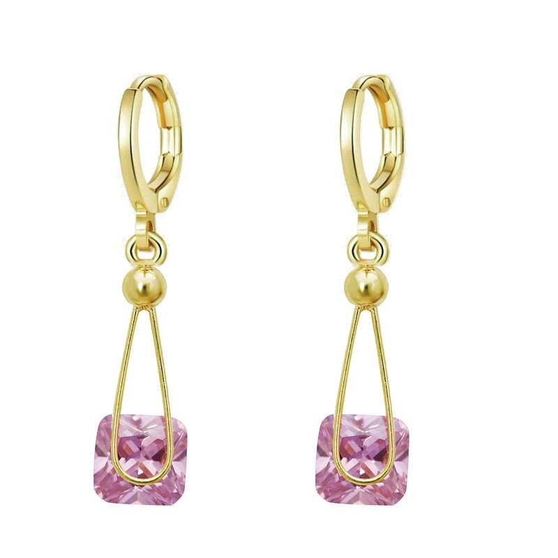 MxGxFam 14 k светло-золотистого цвета прозрачный/розовый квадратный висячие серьги с кубическим цирконием для женщин AAA + Cubic Zricon