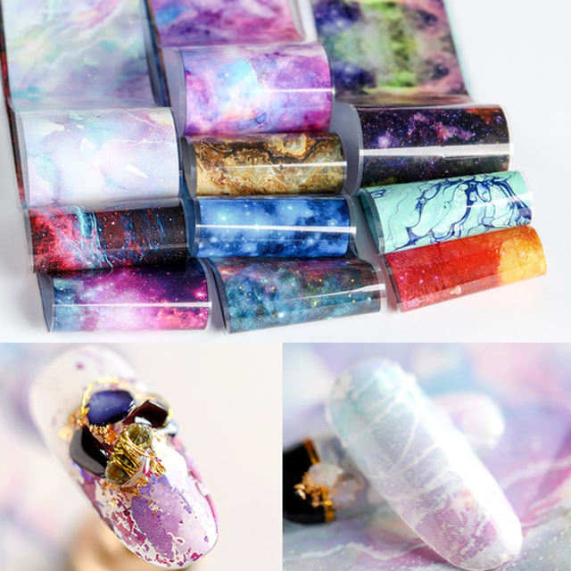 4*50cm Psychedelic Grandient Colors Nail Foils Mixed Patterns Nail Transfer Stickers Accessorie Nail Art Decoration Design