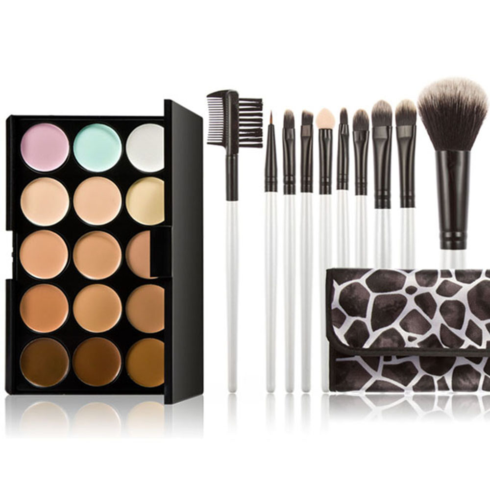 Makeup Brushes Sets with 15 Color Makeup Cream Concealers Palette Eye Face Cosmetic Earth with Makeup Brush for Eyeshadow Lip