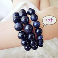Vintage navy blue sandstone bead bracelets for women on the women's hand fashion jewelry christmas gift charm bracelets 0180