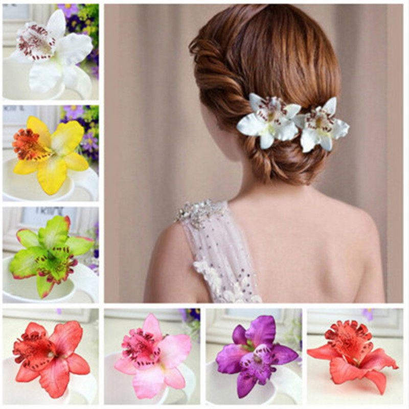 1pc Hot Hair Clip Butterfly Orchid Fabric Lady Head Flower Multicolor Hairpin Hair Accessories