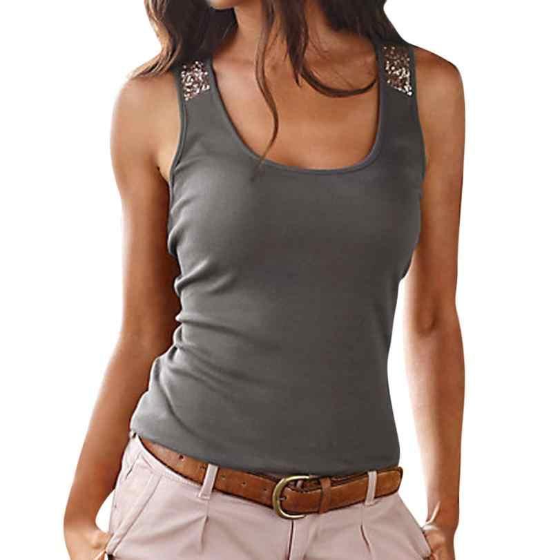 2020 패션 여성 S/3XL 플러스 사이즈 민소매 스팽글 조끼 탑 여성 캐주얼 여름 여성 t-셔츠 camiseta feminina B20