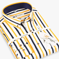2017 Spring Men's Multicolor Splice Stripe Dress Shirts Long Sleeve Comfort Soft Cotton Casual Slim Fit Button-down Casual Shirt
