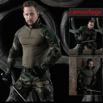 HAN WILD Mens Outdoor Hiking Shirt Military Clothing German Camouflage Uniform Combat Shirt Tactical Clothing for Hunting Males 3