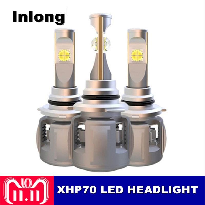 Inlong XHP70 X70 H4 H7 9005 9006 автомобилей светодио дный лампа фары H11 H3 H8 D1S H1 D4S кри чипсы 120 Вт 15600LM фары противотуманные фонари 6000 К