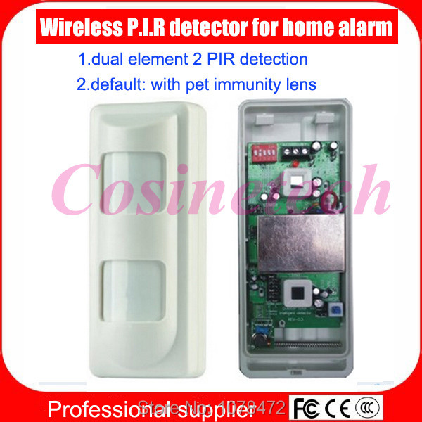 Outdoor use wireless pet friendly immune PIR sensor,dual element 2 PIR detection,infrared motion sensor detector for home alarm free shipping 90 degrees 40kg pet immune dual sensor pir passive infrared detector motion detection ir intruder burglar alarm