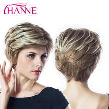 HANNE Brown Mix Blonde 613 High Temperature Synthetic Hair Short Haircut Varmebestandige Natural Wave Parykker For Sort / Hvid Kvinder