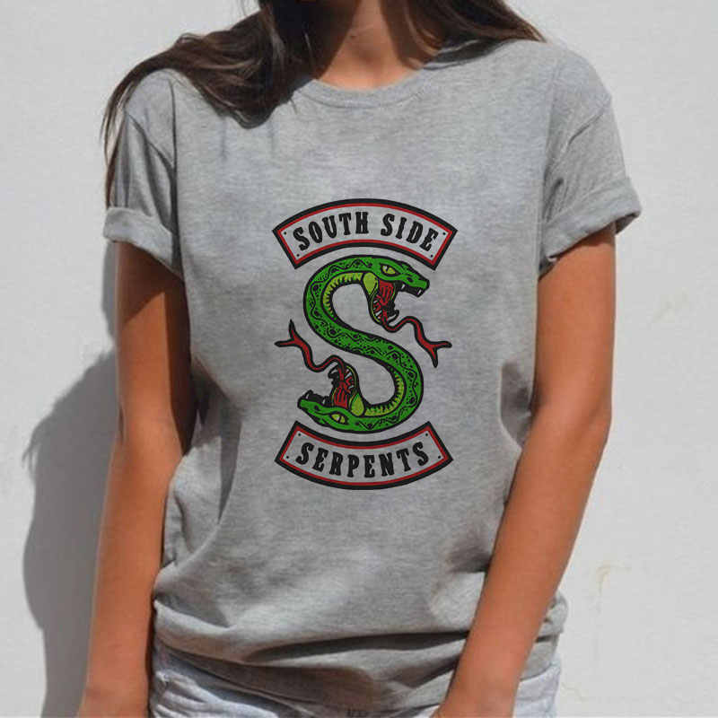 Summer Riverdale T Shirt Women Harajuku Snake Print Fashion Short Sleeve Southside Riverdale Serpents Jughead Female Tshirt Tops