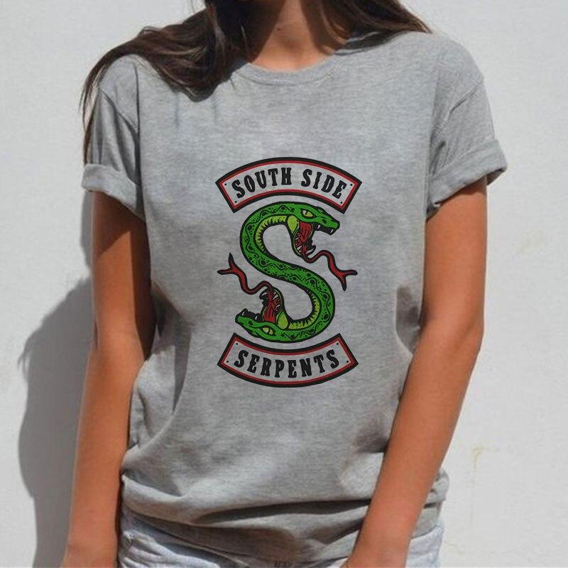 Женская футболка с принтом в виде змеи, летняя футболка с коротким рукавом