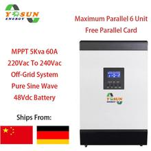 4000W Solar Inverter Pure Sine Wave Inverter 230Vac 60A MPPT Inverter Off-Grid Solar System Build-in 60A AC Charger Inverter 48V