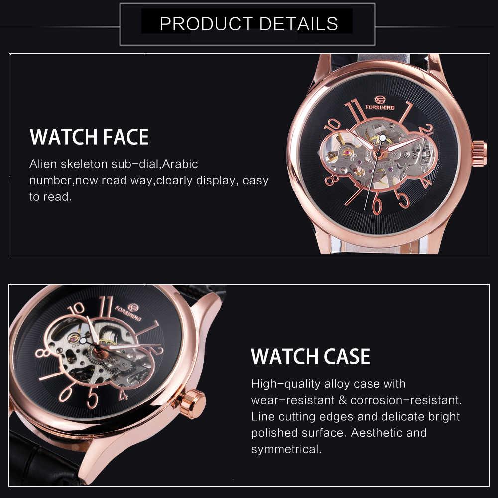 ساعات يد رجالية فاخرة بهيكل عظمي ذات علامة تجارية مميزة ساعات يد ميكانيكية للأعمال بحزام جلدي
