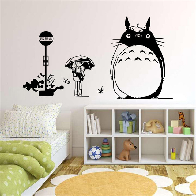 Japan Style Graphic Vinyl Wall Sticker Of TOTORO Cat For Kids Room  Decorative Tree Wall Decals Part 62