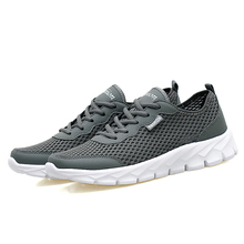 2017 Men Casual Shoes Summer Fashion Breathable Men Shoes Lace Up Gray Black Flat Mesh Shoes Plus Size 35-48