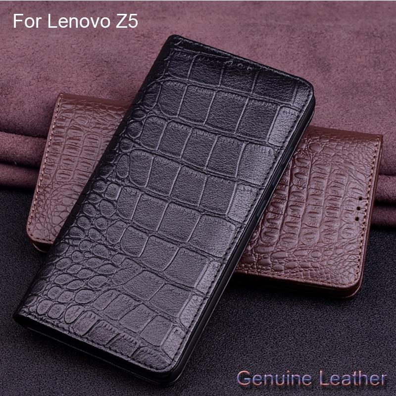 Luxury Genuine Leather Crocodile Pattern Cases For Lenovo Z5 z5 Leather Protection Shell Slim Back Cover For Lenovo Z5 L78011