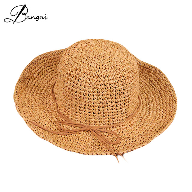 2017 Summer Solid Raffia Straw Bucket Hat Fishman Cap Foldable Crocheted Straw  Hat Girls Beach Parent