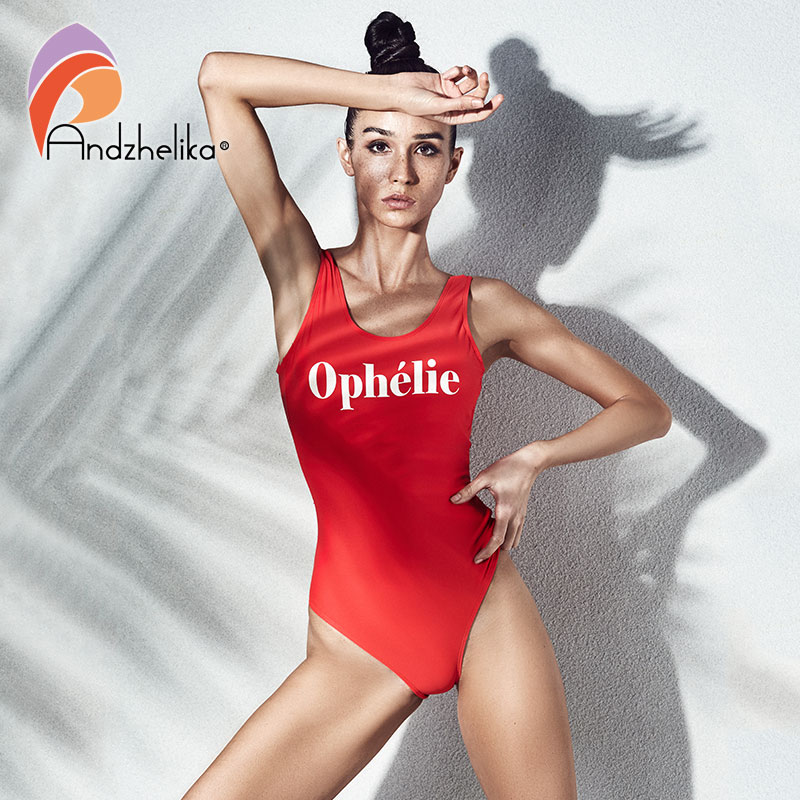 Andzhelika Letter One Piece Sports Swimsuit Women 2018 New Summer Swimwear Soft Cup Bodysuit U-Shaped Back Swim Suit Monokini