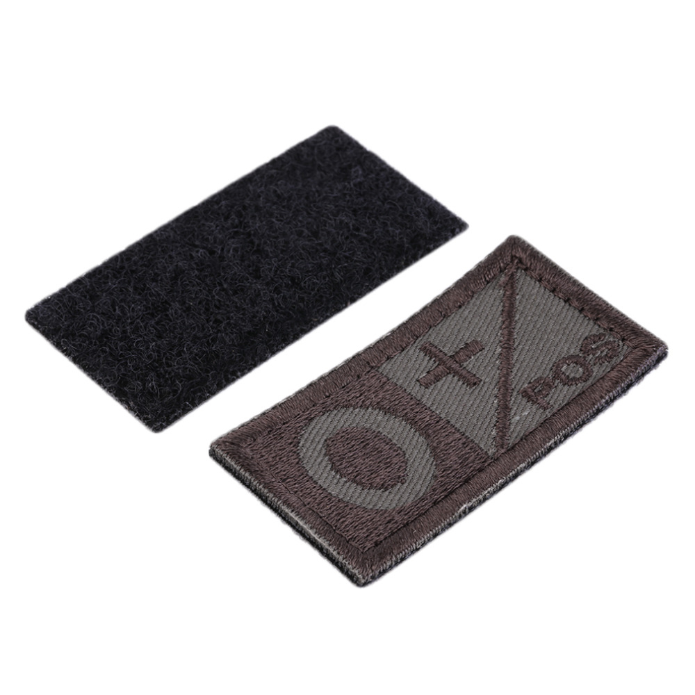 Embroidered Rectangular Sew-On Style Blood Type Patch A/B +POS NEG Coyote Tan OD Green Available Patch Cloth