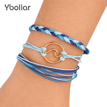 3pcs/Set Handmade Braided Bracelet Set Wave Waxed String Multi-Layer Friendship Bracelets For Women Men Jewelry Adjustable