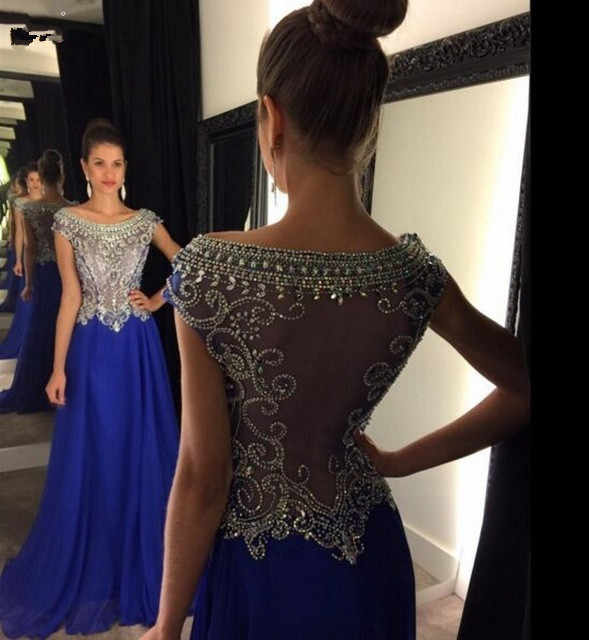 Abendkleider Lang 2017 Royal Blue Sheer Back A-Line Chiffon Evening dresses O-Neck Sparkly Beaded Pink Prom Gowns Formal Dresses