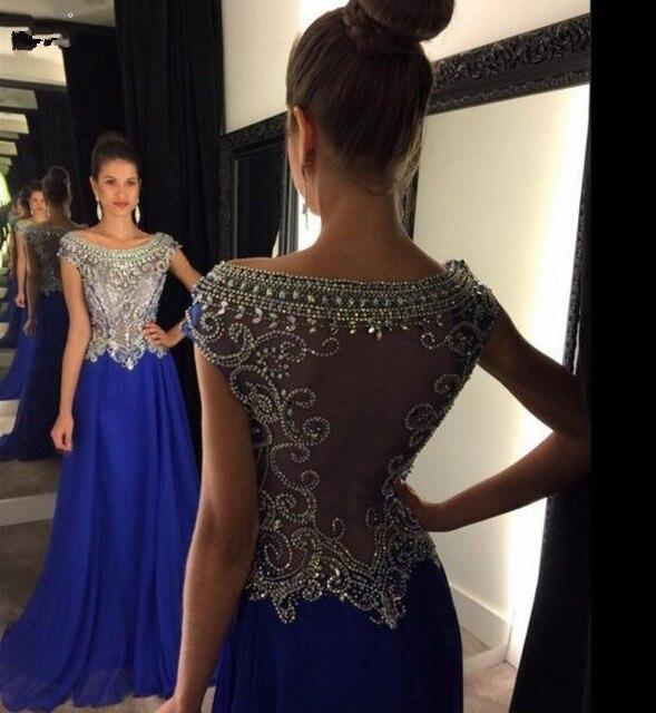 Abendkleider Lang 2017 Royal Blue Sheer Back A-Line Chiffon Evening Dresses O-Neck Sparkly Beaded Pink Prom Gowns Formal Dresses