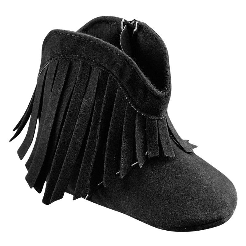 Новорожденных для маленьких девочек Мальчик Дети Prewalker Твердые обувь с бахромой для малышей на мягкой подошве противоскользящие Сапоги и б...