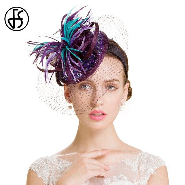 FS Elegant Purple Wedding Formal Fedora Sinamay Hats Pillbox With Veils  Ladies Fascinator Cocktail Hat For Women Chapeu Feminino fd785f1da43