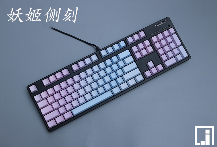 цена на Fantacy Blue keycaps mechanical keyboard thick PBT sink dye cherry mx OEM height side print 87 104 keycaps 108 keys poker 61