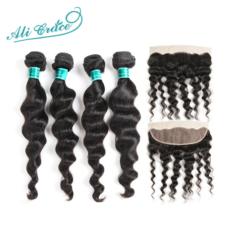 Ali Grace Brazilian Loose Wave Hair With Lace Closure 100 Remy Human Hair 4 Bundles with