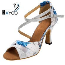 HXYOO 2017 New Arrived Women Ballroom Dance Shoes Latin Satin Soft Sole Floral White Withe Silver High Heel Salsa Shoes WK003