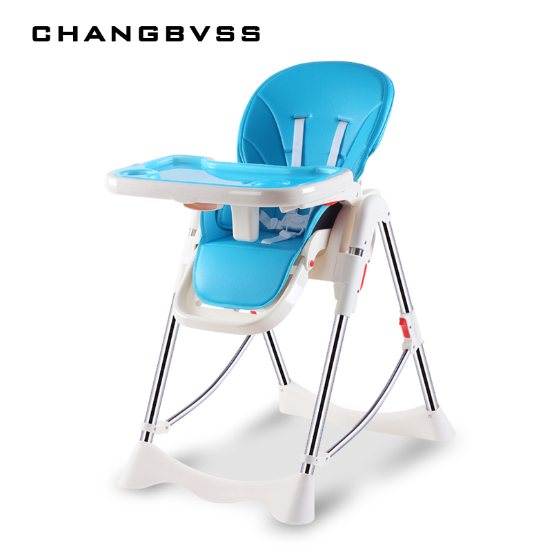 Baby High Chair For Kids Adjustable Feeding Chair With PU Leather Cushi on Dining Table With multi-function Highchair Foldable . baby highchair foldable high chair for kids adjustable feeding chair with pu leather cushion dining table with wheels