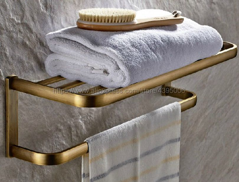Antique Brass Wall Mounted Bathroom Towel Rail Holder Storage Home Double Rack Shelf Bar Bba172 2016 high quality oil black fixed bath towel holder brass towel rack holder for hotel or home bathroom storage rack rail shelf