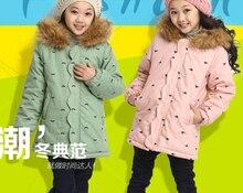 Девочки зима верхняя одежда пальто детские warmclothing девушки ватные детской зимней хлопка-ватник утолщение