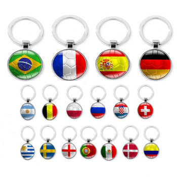 Hot selling fashion Football Top Countries National Flag Shape Keychain For Nice Gift Keyring Fans Friends Lovers
