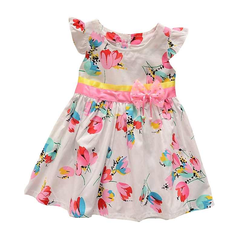 BibiCola Girls Summer Dress Toddler Girls Cotton Dresses Children Beach Dress 0-2 Years Baby Casual Kids Dress