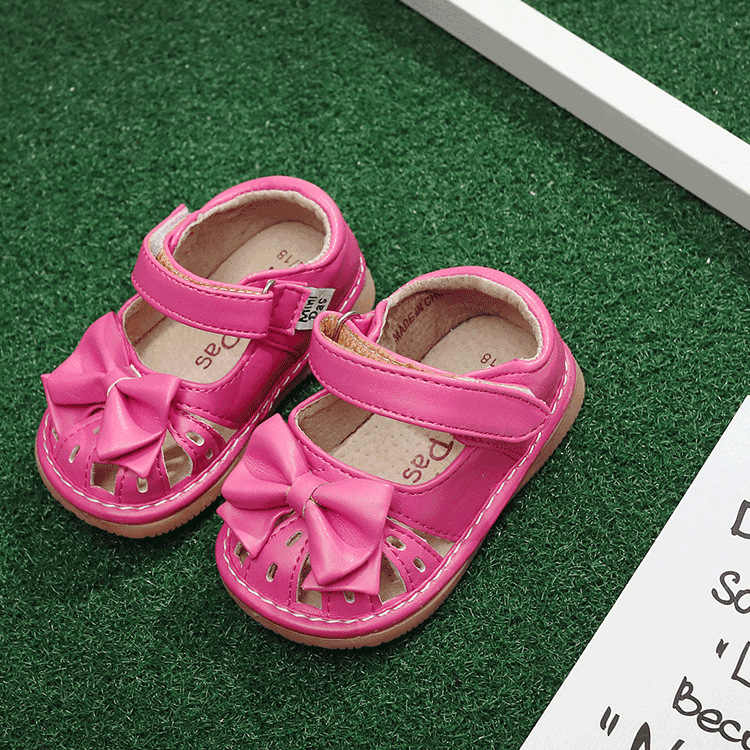 2584ac10c ... Горячая Распродажа от 1 до 3 лет дети девочки скрипучие туфли ручной  работы бант лента полусандалии ...