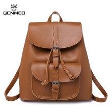 цена на GNEMEO New Arrival Multi Function Leather Backpack Female Drawstring Bag with Shoulder Strap Bolsa Feminina