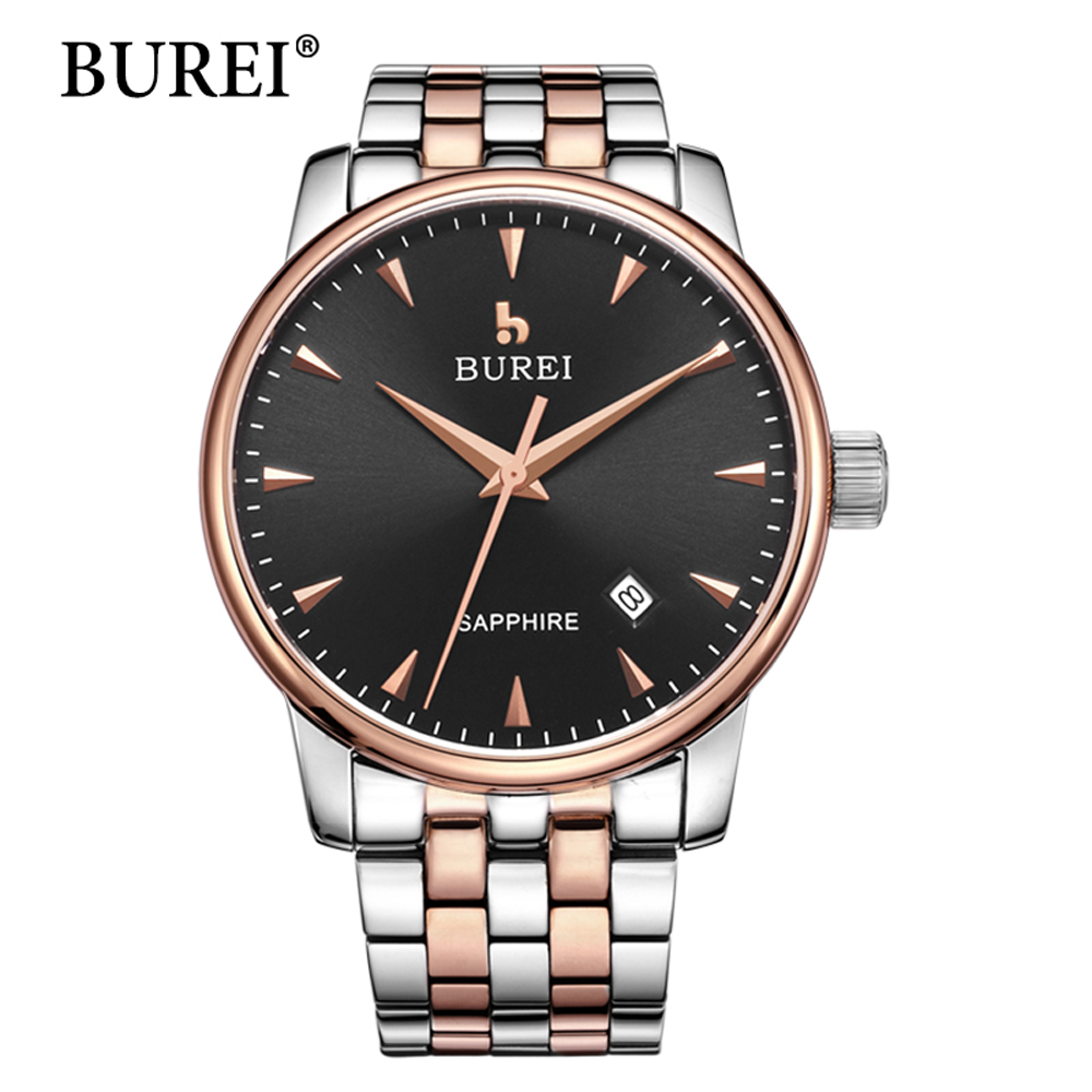 BUREI Brand Luxury Mens Watches Automatic Mechanical Watch Sapphire Clock Stainless Steel Casual Business Wristwatch relojes man automatic mechanical watches burei fashion brand male luxury clock calendar sapphire steel band 50m waterproof watch mens