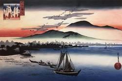 Japanse Landschap Muur Schilderen op Canvas Aflopend Ganzen op Katada  nr 6 uit Acht Standpunten van Omi door Hiroshige Handgeschilderde
