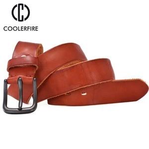 Image 4 - Rugged full grain leather belt man casual vintage belts men genuine vegetable tanned cowhide original strap male girdle TM007